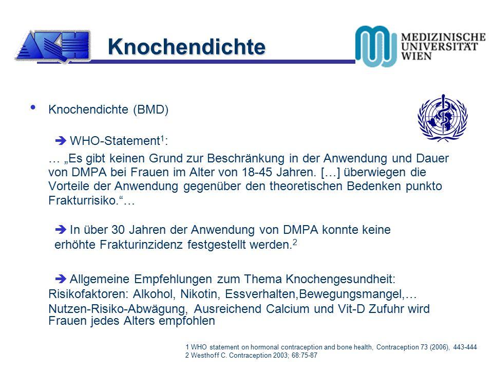 """Knochendichte (BMD)  WHO-Statement 1 : … """"Es gibt keinen Grund zur Beschränkung in der Anwendung und Dauer von DMPA bei Frauen im Alter von 18-45 Jah"""
