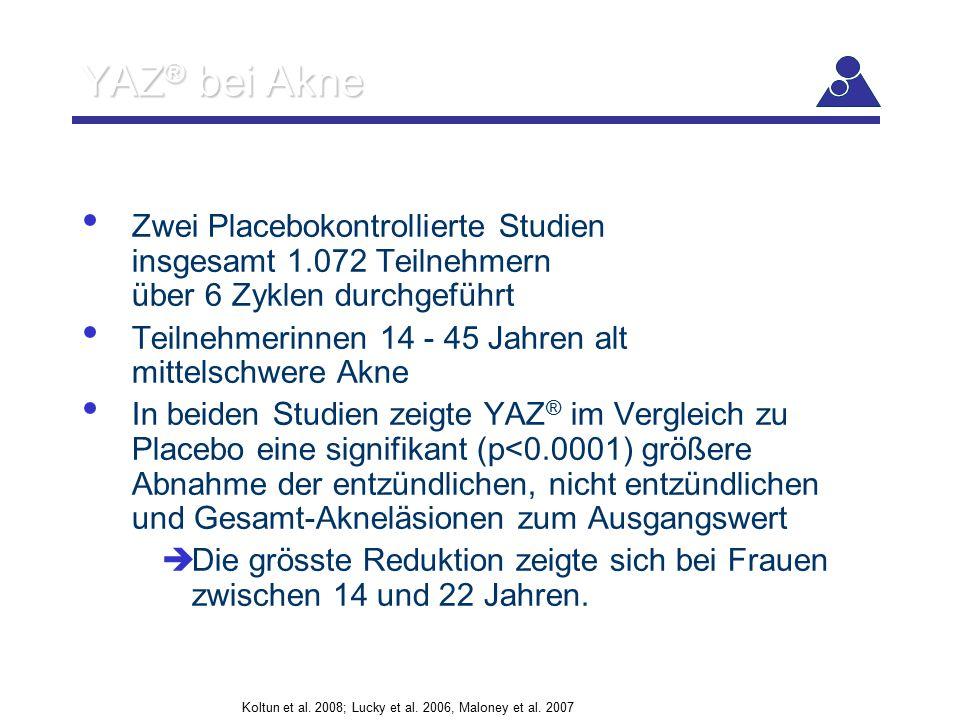 YAZ ® bei Akne Zwei Placebokontrollierte Studien insgesamt 1.072 Teilnehmern über 6 Zyklen durchgeführt Teilnehmerinnen 14 - 45 Jahren alt mittelschwe