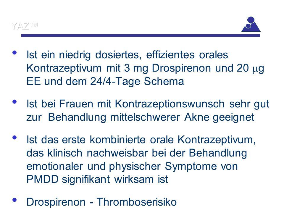 YAZ™ Ist ein niedrig dosiertes, effizientes orales Kontrazeptivum mit 3 mg Drospirenon und 20  g EE und dem 24/4-Tage Schema Ist bei Frauen mit Kontr