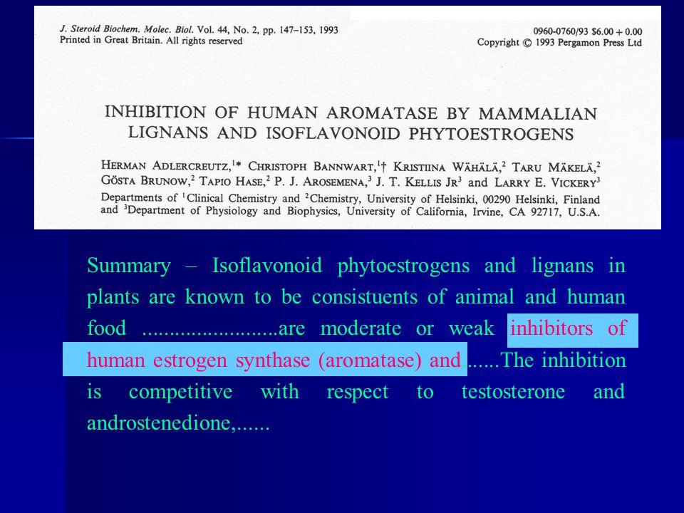 H ERMANN A DLERCREUTZ ET AL. J. Steroid Biochem. Molec. Biol. Vol. 44, No. 2, pp. 147-153, 1993 Summary – Isoflavonoid phytoestrogens and lignans in p