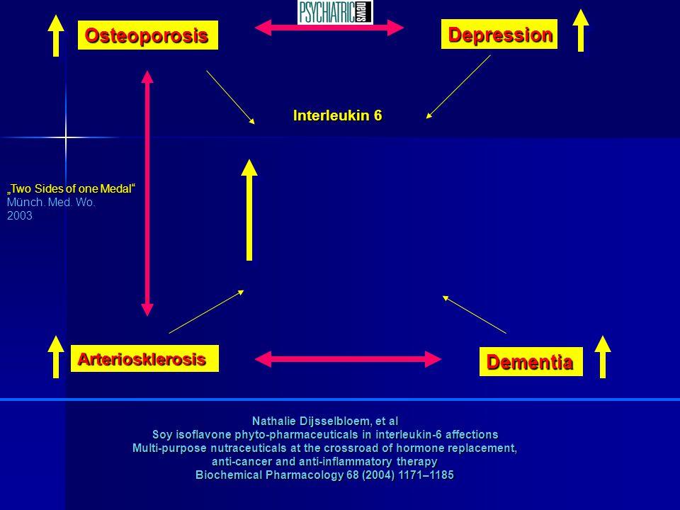 "Interleukin 6 Osteoporosis Depression Arteriosklerosis Dementia ""Two Sides of one Medal"" Münch. Med. Wo. 2003 Nathalie Dijsselbloem, et al Soy isoflav"