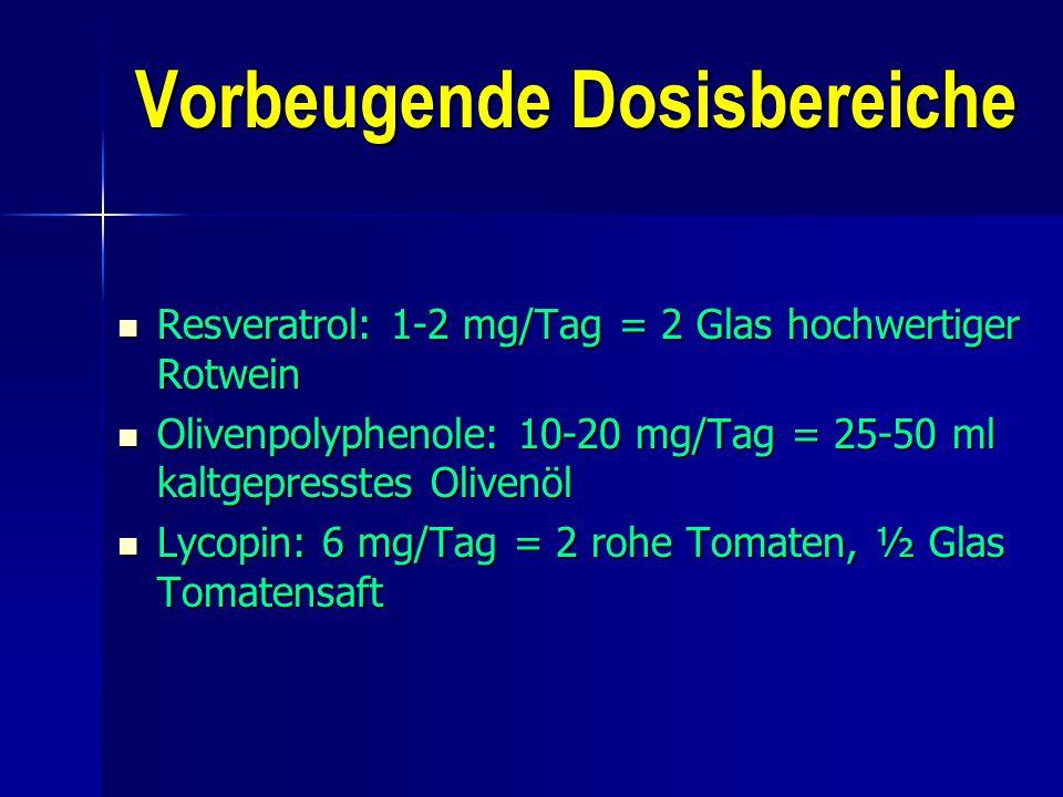 Vorbeugende Dosisbereiche Resveratrol: 1-2 mg/Tag = 2 Glas hochwertiger Rotwein Resveratrol: 1-2 mg/Tag = 2 Glas hochwertiger Rotwein Olivenpolyphenol