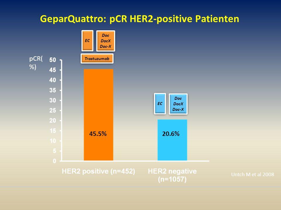GeparQuattro: pCR HER2-positive Patienten pCR( %) 45.5%20.6% Untch M et al 2008 Doc DocX Doc-X Doc DocX Doc-X EC Trastuzumab Doc DocX Doc-X Doc DocX Doc-X EC