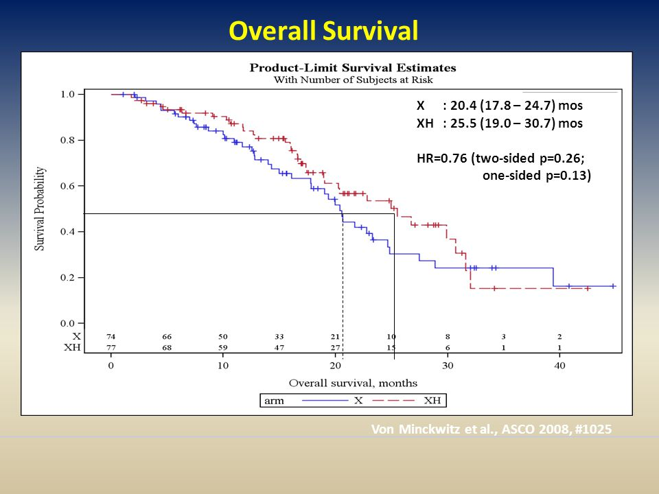 Overall Survival X : 20.4 (17.8 – 24.7) mos XH: 25.5 (19.0 – 30.7) mos HR=0.76 (two-sided p=0.26; one-sided p=0.13) Von Minckwitz et al., ASCO 2008, #