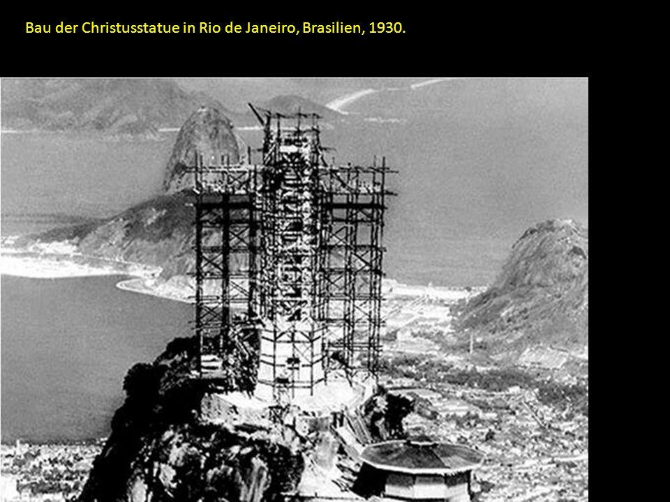 Bau der Christusstatue in Rio de Janeiro, Brasilien, 1930.