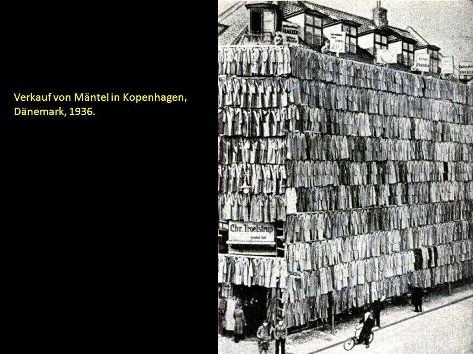 Verkauf von Mäntel in Kopenhagen, Dänemark, 1936.