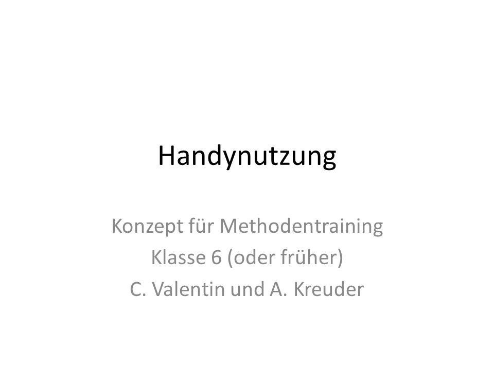 Handynutzung Konzept für Methodentraining Klasse 6 (oder früher) C. Valentin und A. Kreuder