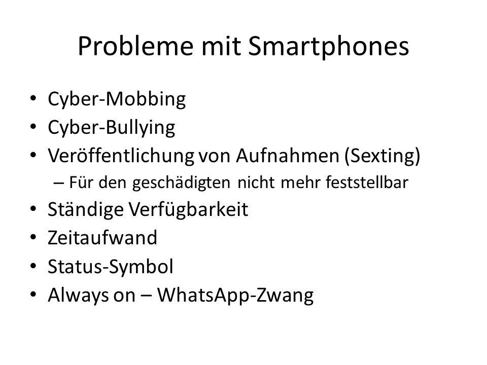 Probleme mit Smartphones Cyber-Mobbing Cyber-Bullying Veröffentlichung von Aufnahmen (Sexting) – Für den geschädigten nicht mehr feststellbar Ständige
