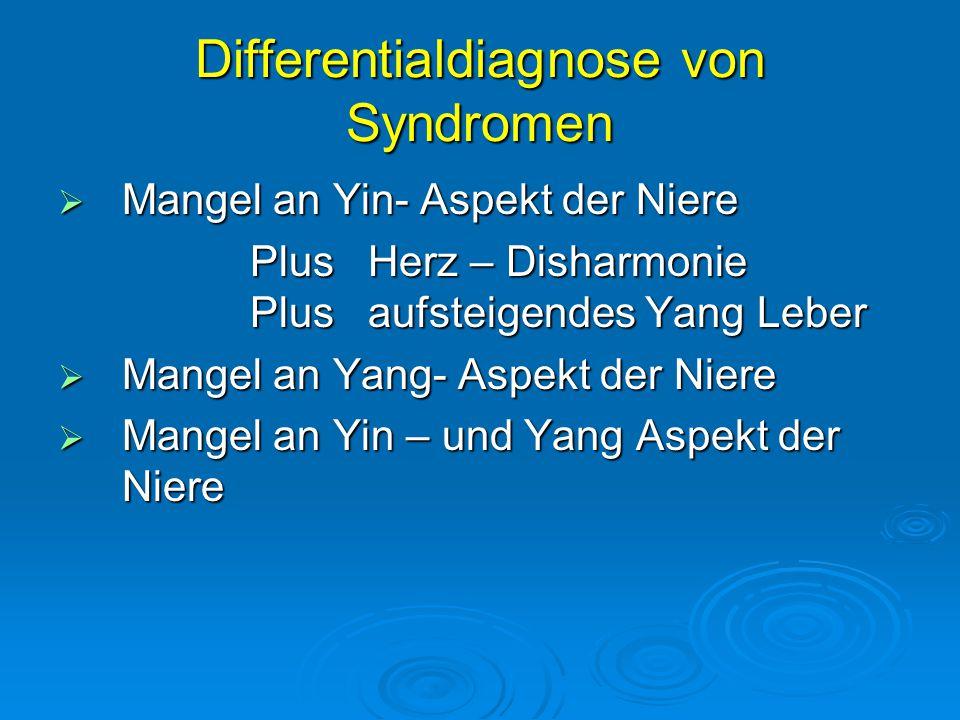 Differentialdiagnose von Syndromen  Mangel an Yin- Aspekt der Niere Plus Herz – Disharmonie Plus aufsteigendes Yang Leber  Mangel an Yang- Aspekt der Niere  Mangel an Yin – und Yang Aspekt der Niere