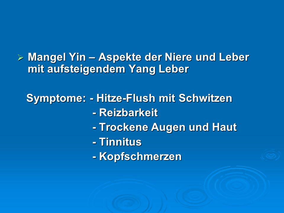  Mangel Yin – Aspekte der Niere und Leber mit aufsteigendem Yang Leber Symptome: - Hitze-Flush mit Schwitzen Symptome: - Hitze-Flush mit Schwitzen - Reizbarkeit - Reizbarkeit - Trockene Augen und Haut - Trockene Augen und Haut - Tinnitus - Tinnitus - Kopfschmerzen - Kopfschmerzen