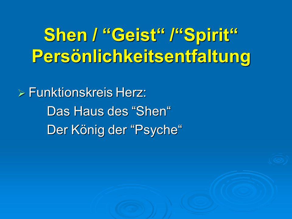 Shen / Geist / Spirit Persönlichkeitsentfaltung  Funktionskreis Herz: Das Haus des Shen Der König der Psyche