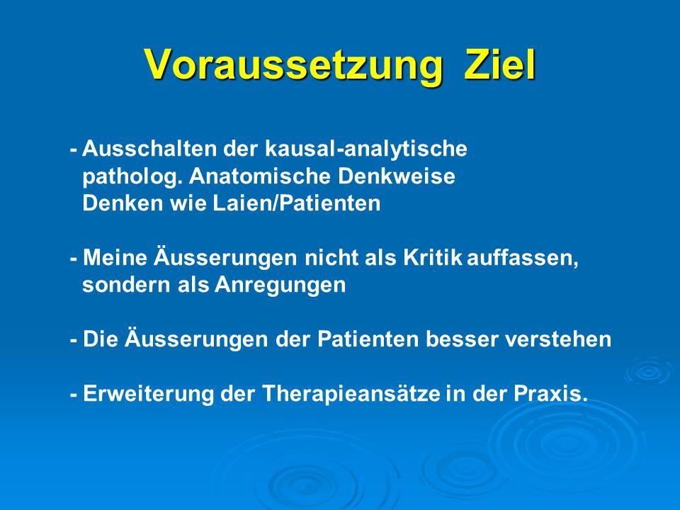 Voraussetzung Ziel - Ausschalten der kausal-analytische patholog.