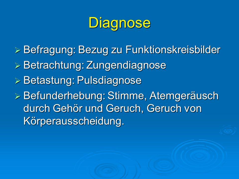 Diagnose  Befragung: Bezug zu Funktionskreisbilder  Betrachtung: Zungendiagnose  Betastung: Pulsdiagnose  Befunderhebung: Stimme, Atemgeräusch durch Gehör und Geruch, Geruch von Körperausscheidung.