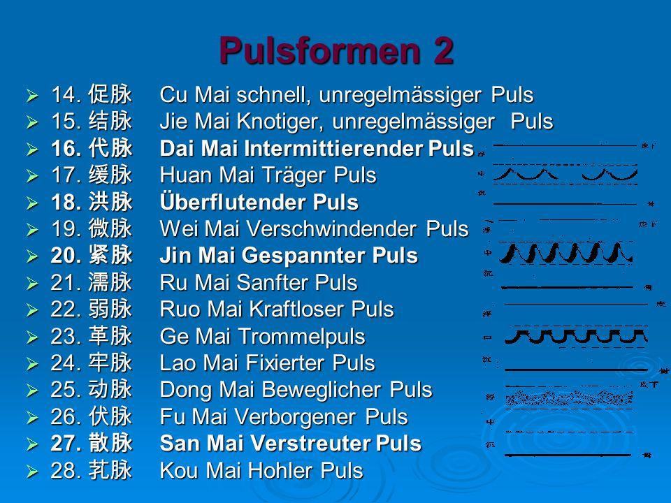 Pulsformen 2  14.促脉 Cu Mai schnell, unregelmässiger Puls  15.