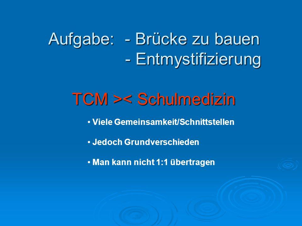 Aufgabe: - Brücke zu bauen - Entmystifizierung TCM > < Schulmedizin Viele Gemeinsamkeit/Schnittstellen Jedoch Grundverschieden Man kann nicht 1:1 übertragen