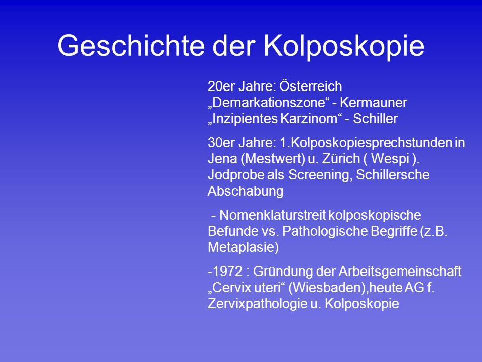"""Geschichte der Kolposkopie 20er Jahre: Österreich """"Demarkationszone"""" - Kermauner """"Inzipientes Karzinom"""" - Schiller 30er Jahre: 1.Kolposkopiesprechstun"""