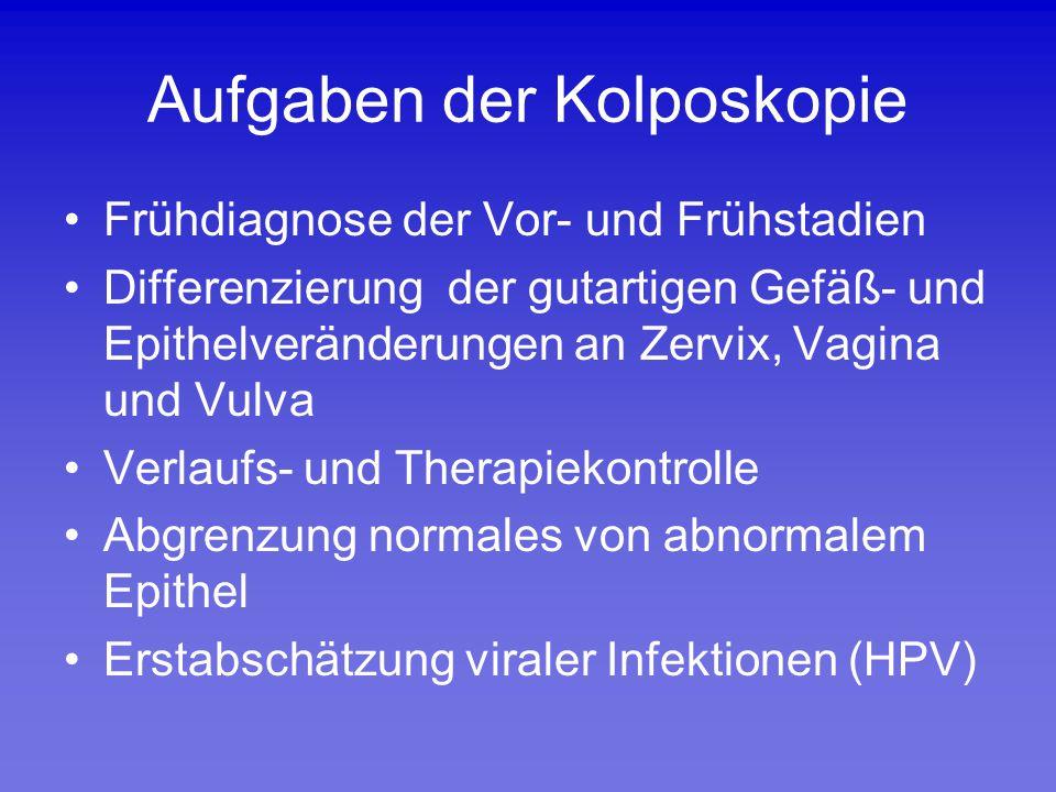 Aufgaben der Kolposkopie Frühdiagnose der Vor- und Frühstadien Differenzierung der gutartigen Gefäß- und Epithelveränderungen an Zervix, Vagina und Vu