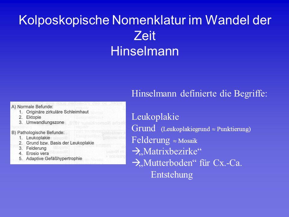 Kolposkopische Nomenklatur im Wandel der Zeit Hinselmann Hinselmann defínierte die Begriffe: Leukoplakie Grund (Leukoplakiegrund  Punktierung) Felder