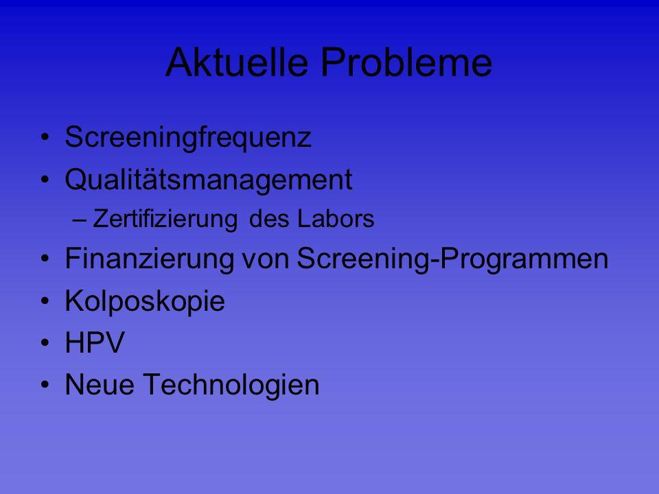Aktuelle Probleme Screeningfrequenz Qualitätsmanagement –Zertifizierung des Labors Finanzierung von Screening-Programmen Kolposkopie HPV Neue Technolo