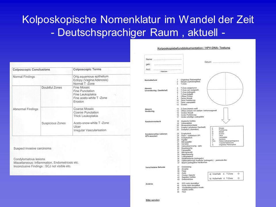 Kolposkopische Nomenklatur im Wandel der Zeit - Deutschsprachiger Raum, aktuell -