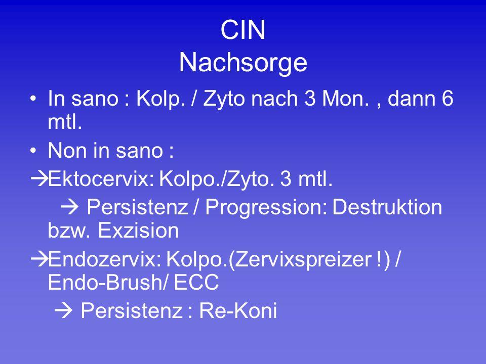 CIN Nachsorge In sano : Kolp. / Zyto nach 3 Mon., dann 6 mtl. Non in sano :  Ektocervix: Kolpo./Zyto. 3 mtl.  Persistenz / Progression: Destruktion