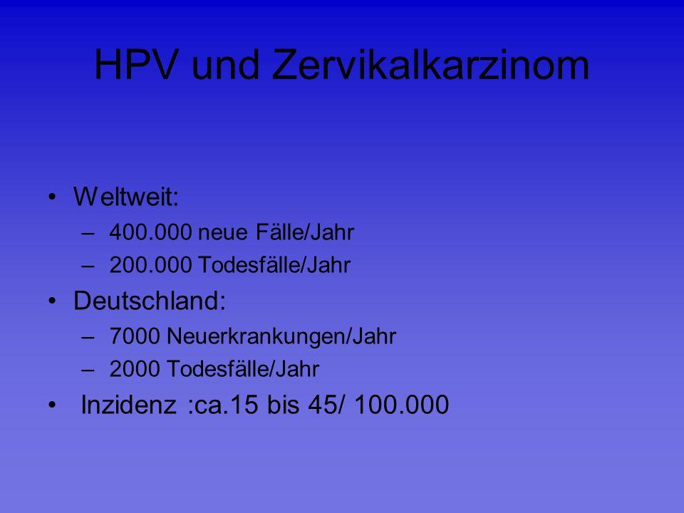 HPV und Zervikalkarzinom Weltweit: – 400.000 neue Fälle/Jahr – 200.000 Todesfälle/Jahr Deutschland: – 7000 Neuerkrankungen/Jahr – 2000 Todesfälle/Jahr