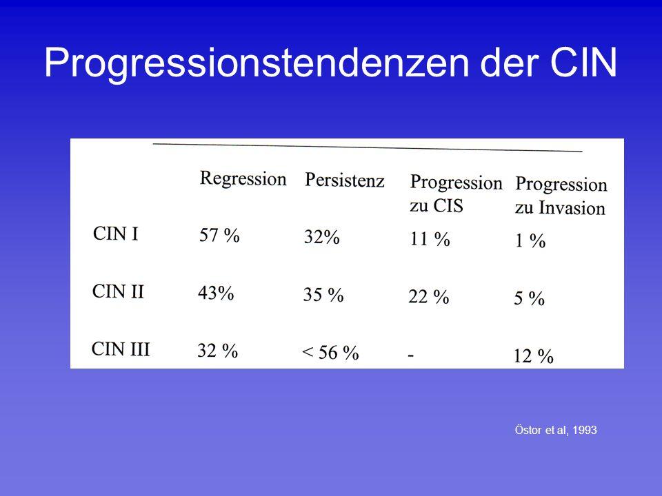 SPONTANE REGRESSIONSRATEN VON CIN NACH VAGINALER ENTBINDUNG Kiguchi et al ( 1981)53 % Yoonesi et al.( 1982)36% Siddiqui et al.( 2001)63% Ahdoot et al.( 1998)60% Palle et al.(2000) 25% Coppola et al.( 1997)12%