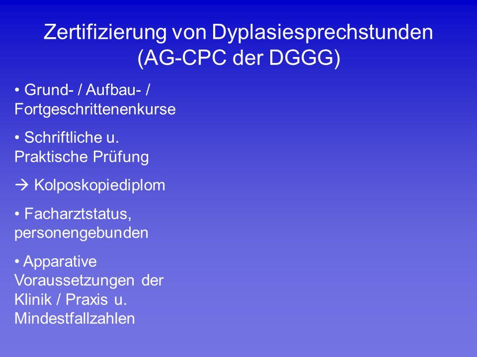 Zertifizierung von Dyplasiesprechstunden (AG-CPC der DGGG) Grund- / Aufbau- / Fortgeschrittenenkurse Schriftliche u. Praktische Prüfung  Kolposkopied
