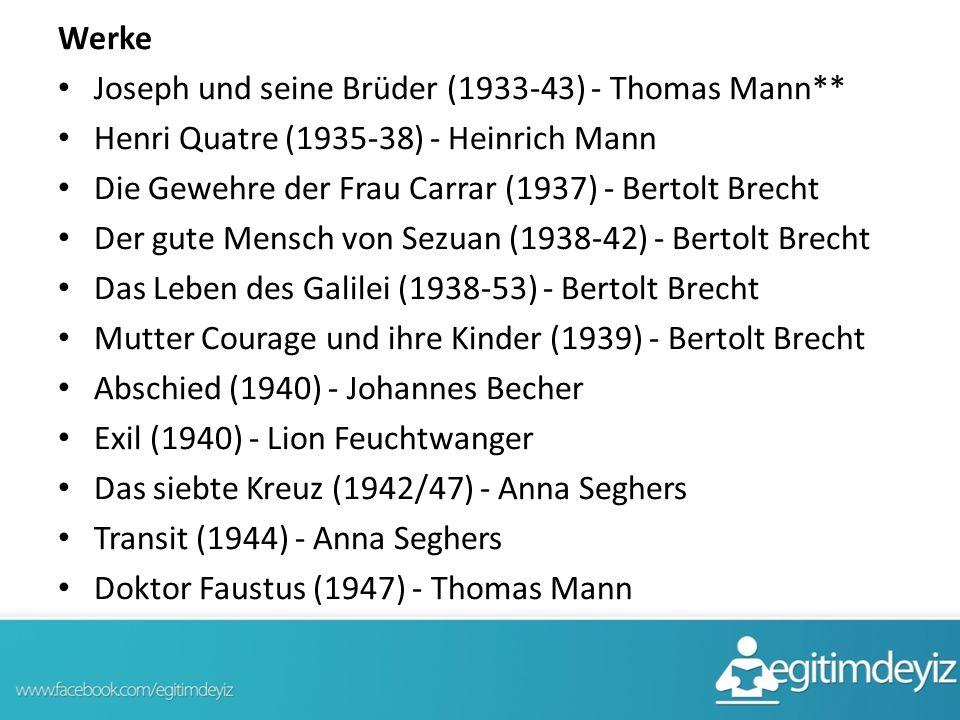 Werke Joseph und seine Brüder (1933-43) - Thomas Mann** Henri Quatre (1935-38) - Heinrich Mann Die Gewehre der Frau Carrar (1937) - Bertolt Brecht Der