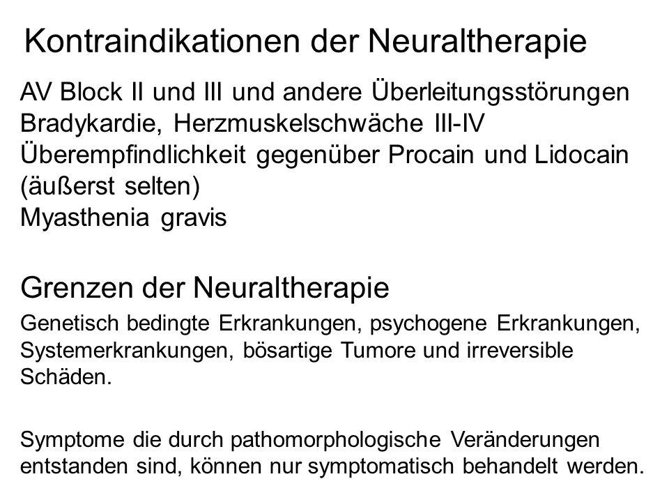 Kontraindikationen der Neuraltherapie AV Block II und III und andere Überleitungsstörungen Bradykardie, Herzmuskelschwäche III-IV Überempfindlichkeit