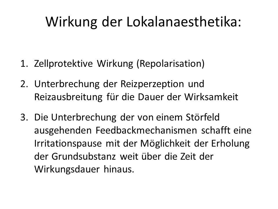 Wirkung der Lokalanaesthetika: 1.Zellprotektive Wirkung (Repolarisation) 2.Unterbrechung der Reizperzeption und Reizausbreitung für die Dauer der Wirk