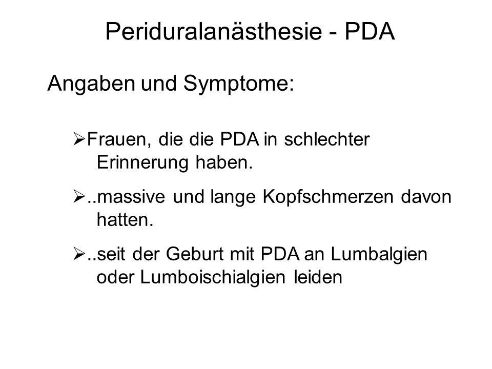 Periduralanästhesie - PDA Angaben und Symptome:  Frauen, die die PDA in schlechter Erinnerung haben. ..massive und lange Kopfschmerzen davon hatten.