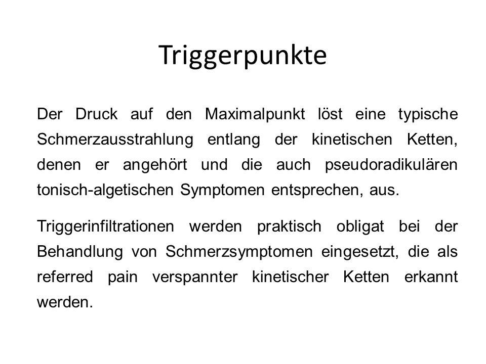 Triggerpunkte Der Druck auf den Maximalpunkt löst eine typische Schmerzausstrahlung entlang der kinetischen Ketten, denen er angehört und die auch pse
