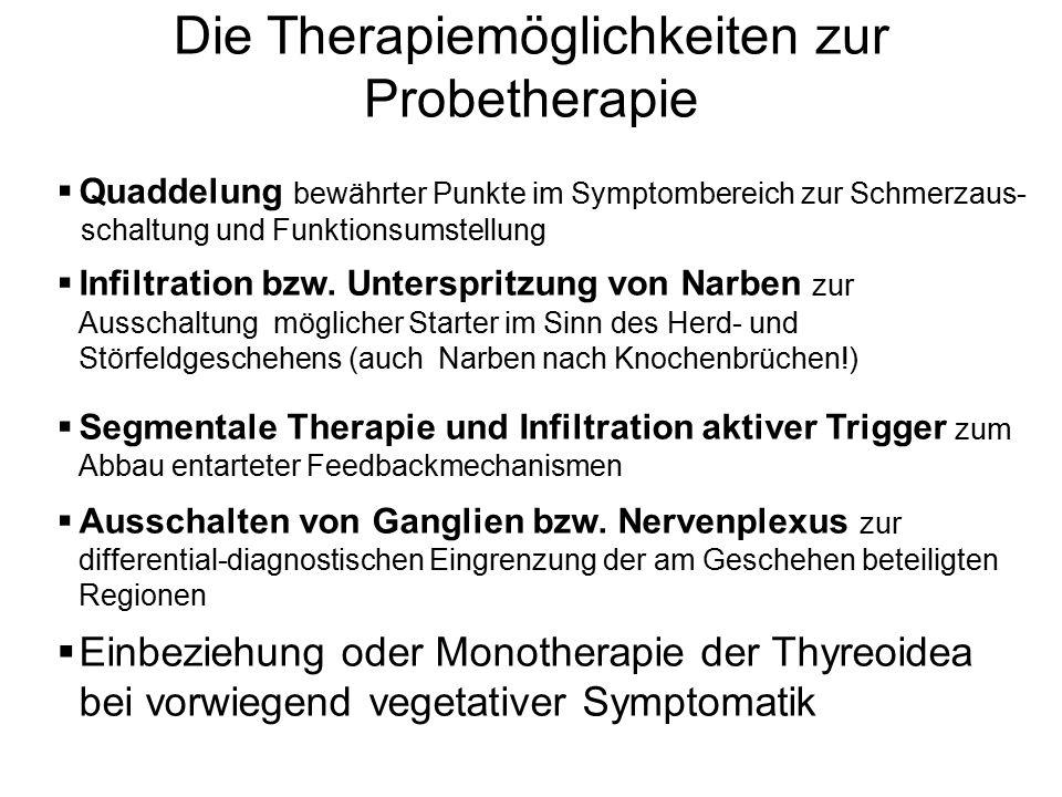 Die Therapiemöglichkeiten zur Probetherapie  Quaddelung bewährter Punkte im Symptombereich zur Schmerzaus- schaltung und Funktionsumstellung  Infilt
