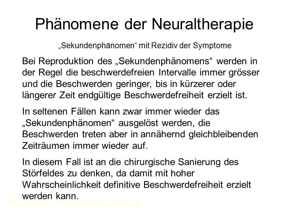 """Phänomene der Neuraltherapie """"Sekundenphänomen"""" mit Rezidiv der Symptome Bei Reproduktion des """"Sekundenphänomens"""" werden in der Regel die beschwerdefr"""