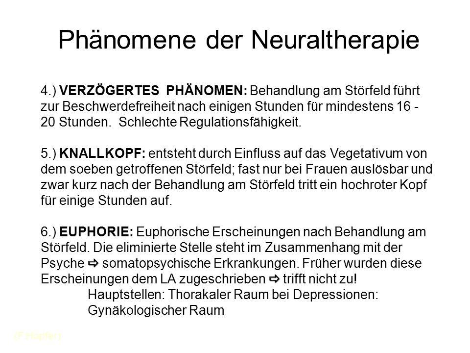 Phänomene der Neuraltherapie 4.) VERZÖGERTES PHÄNOMEN: Behandlung am Störfeld führt zur Beschwerdefreiheit nach einigen Stunden für mindestens 16 - 20