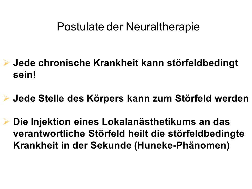 Postulate der Neuraltherapie  Jede chronische Krankheit kann störfeldbedingt sein!  Jede Stelle des Körpers kann zum Störfeld werden  Die Injektion