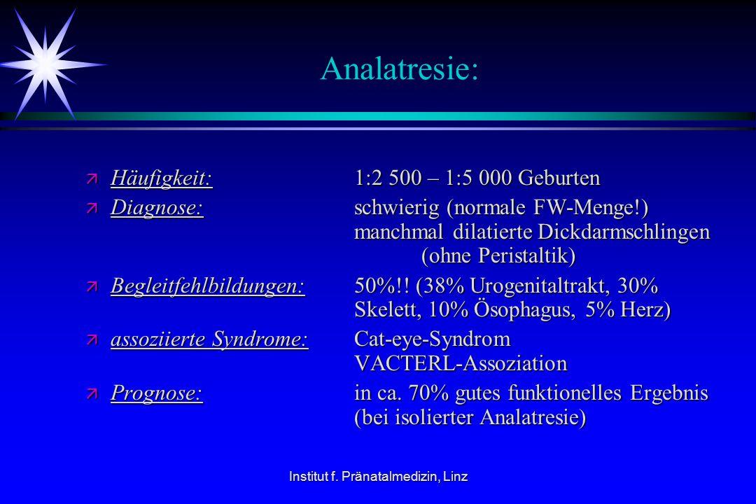 Institut f. Pränatalmedizin, Linz Analatresie: ä Häufigkeit: 1:2 500 – 1:5 000 Geburten ä Diagnose: schwierig (normale FW-Menge!) manchmal dilatierte