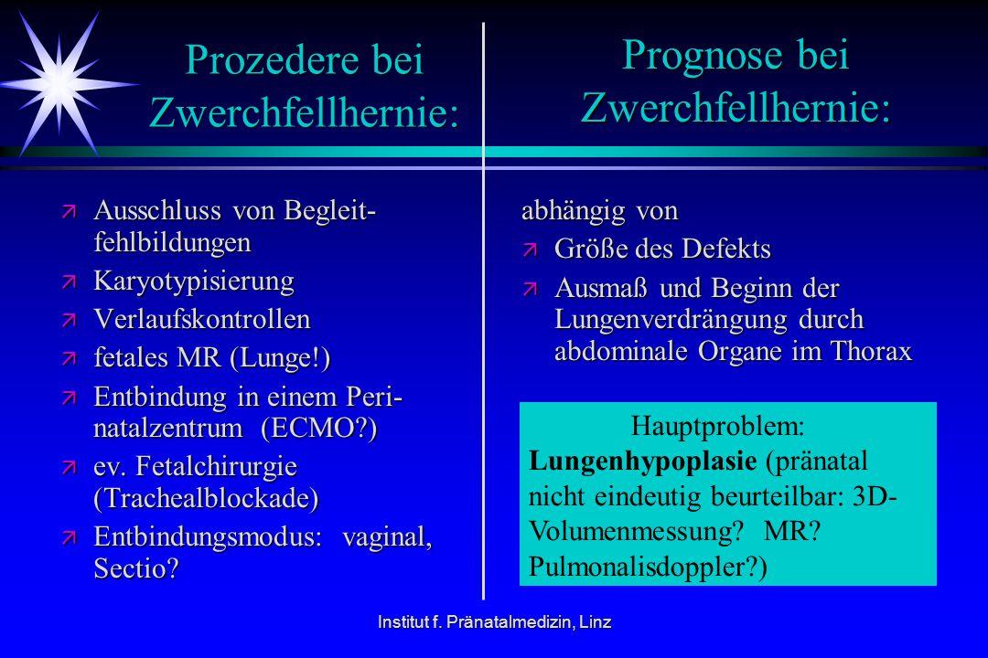 Institut f. Pränatalmedizin, Linz Prozedere bei Zwerchfellhernie: ä Ausschluss von Begleit- fehlbildungen ä Karyotypisierung ä Verlaufskontrollen ä fe