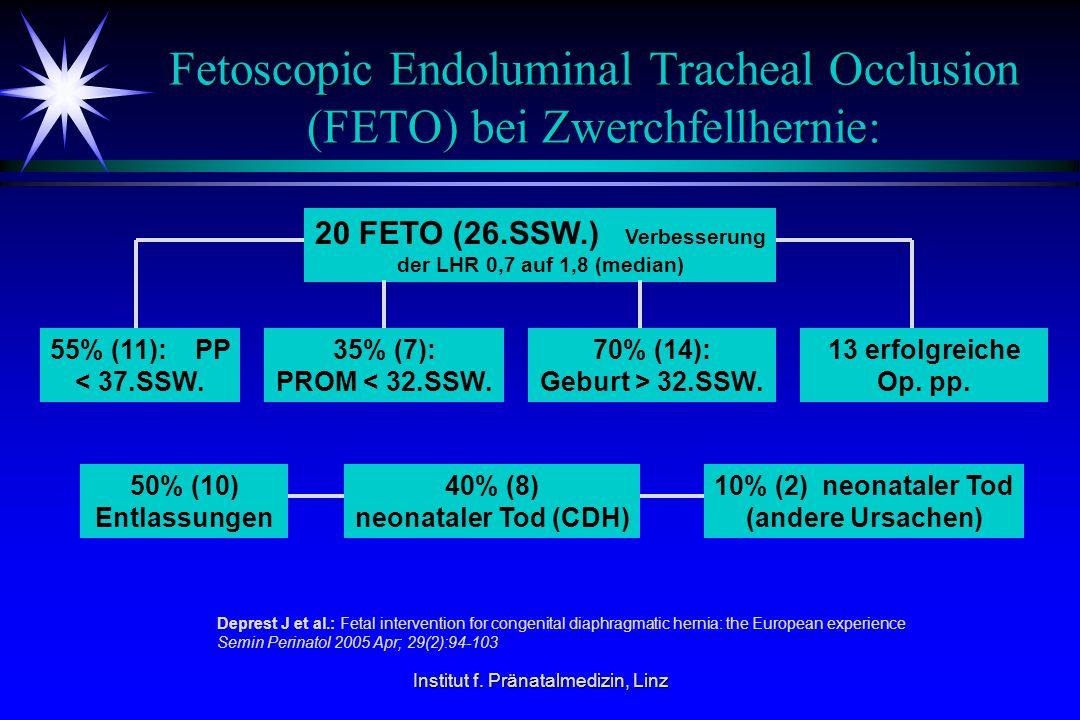 Institut f. Pränatalmedizin, Linz Fetoscopic Endoluminal Tracheal Occlusion (FETO) bei Zwerchfellhernie: 20 FETO (26.SSW.) Verbesserung der LHR 0,7 au