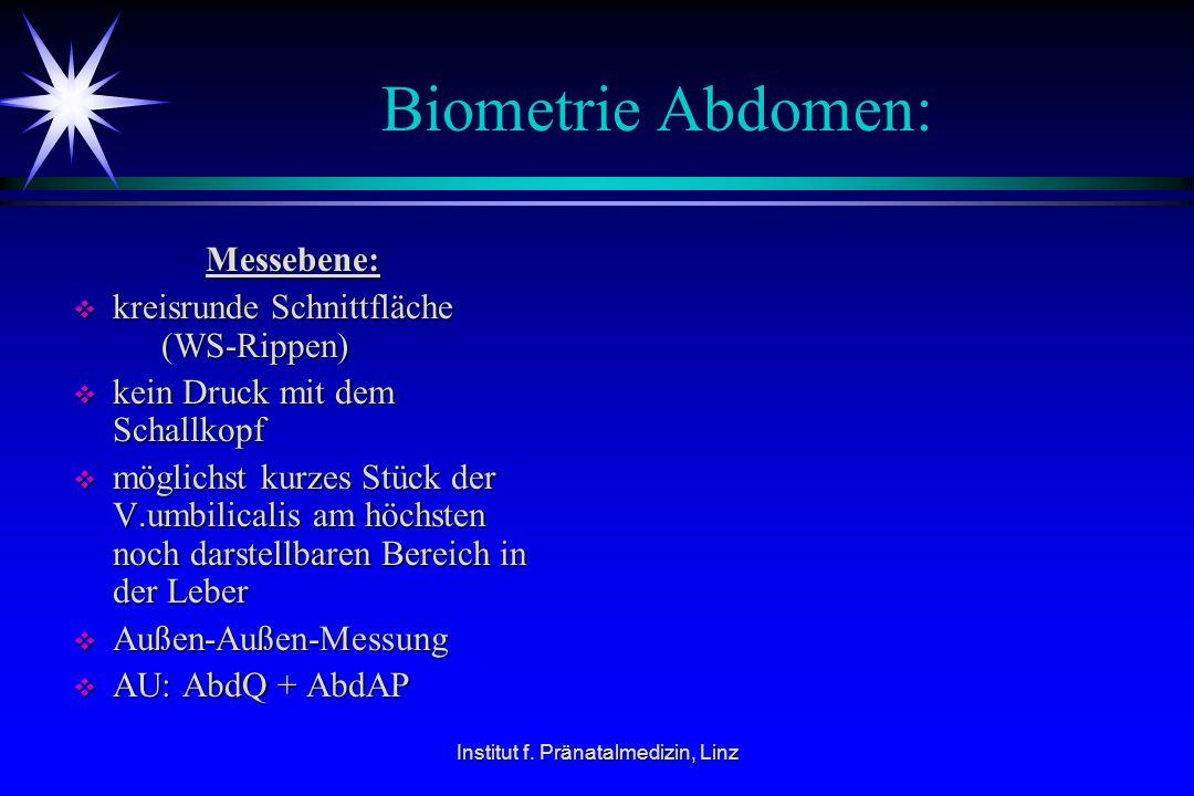 Institut f. Pränatalmedizin, Linz Biometrie Abdomen: Messebene: Messebene:  kreisrunde Schnittfläche (WS-Rippen)  kein Druck mit dem Schallkopf  mö