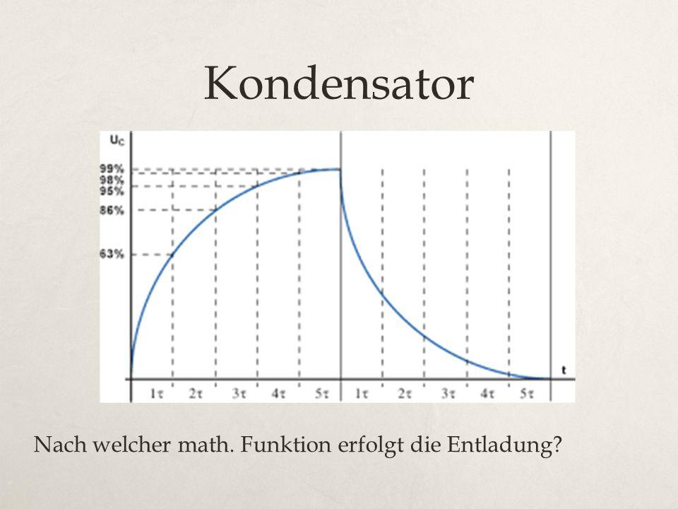 Kondensator Nach welcher math. Funktion erfolgt die Entladung?