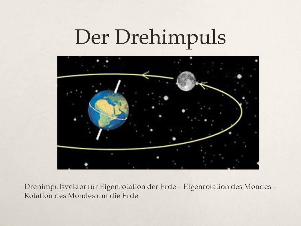 Der Drehimpuls Drehimpulsvektor für Eigenrotation der Erde – Eigenrotation des Mondes – Rotation des Mondes um die Erde