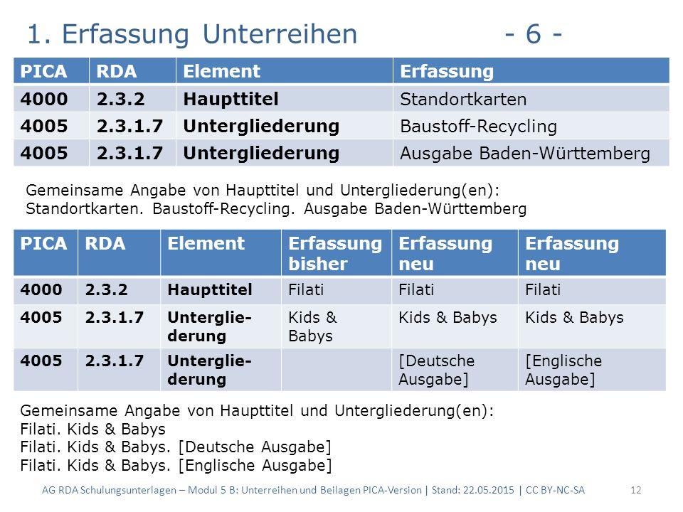 1. Erfassung Unterreihen- 6 - AG RDA Schulungsunterlagen – Modul 5 B: Unterreihen und Beilagen PICA-Version | Stand: 22.05.2015 | CC BY-NC-SA12 PICARD