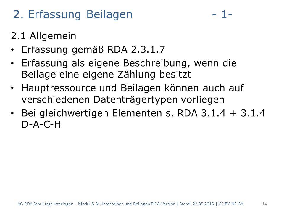 2. Erfassung Beilagen- 1- 2.1 Allgemein Erfassung gemäß RDA 2.3.1.7 Erfassung als eigene Beschreibung, wenn die Beilage eine eigene Zählung besitzt Ha