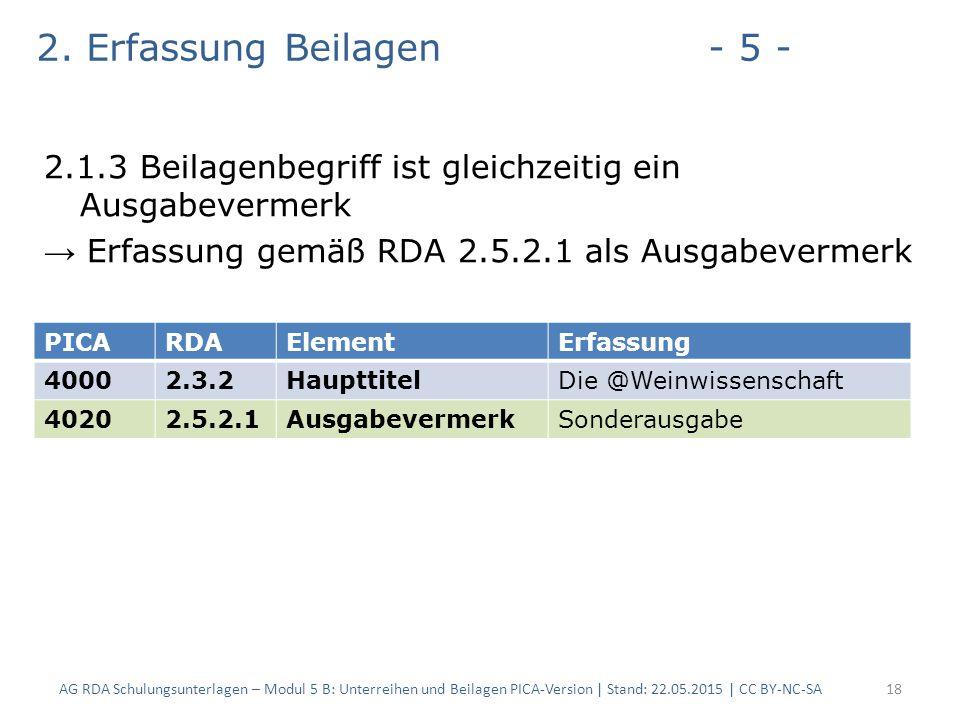 2. Erfassung Beilagen- 5 - 2.1.3 Beilagenbegriff ist gleichzeitig ein Ausgabevermerk → Erfassung gemäß RDA 2.5.2.1 als Ausgabevermerk AG RDA Schulungs