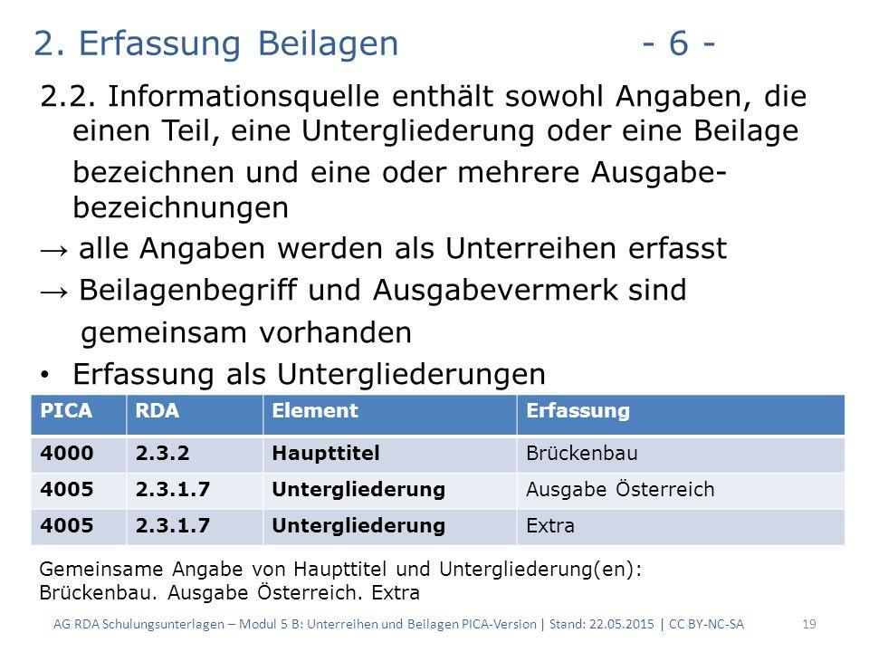 2. Erfassung Beilagen- 6 - 2.2.