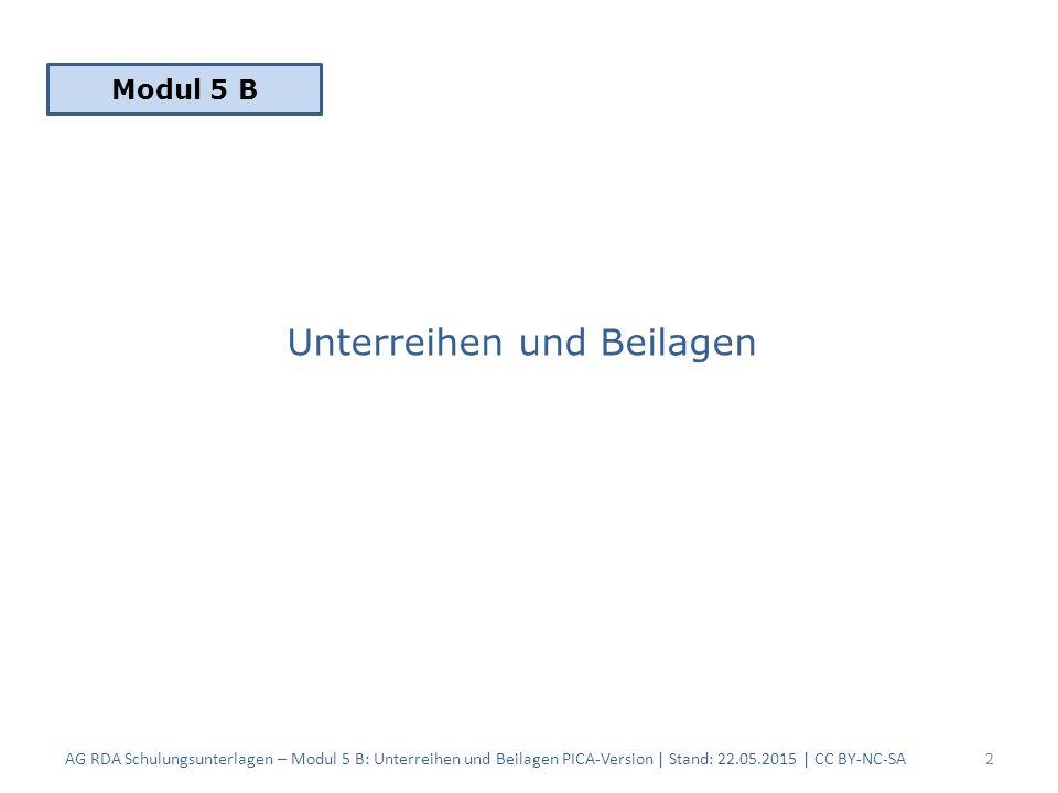 Unterreihen und Beilagen AG RDA Schulungsunterlagen – Modul 5 B: Unterreihen und Beilagen PICA-Version | Stand: 22.05.2015 | CC BY-NC-SA2 Modul 5 B