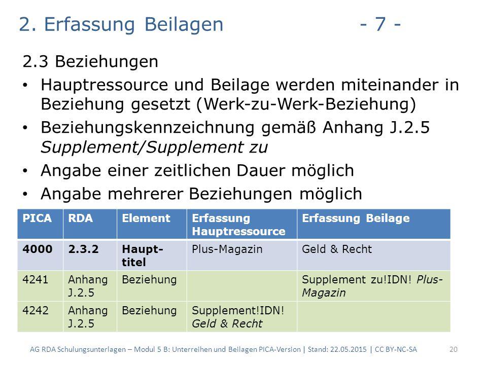 2. Erfassung Beilagen- 7 - 2.3 Beziehungen Hauptressource und Beilage werden miteinander in Beziehung gesetzt (Werk-zu-Werk-Beziehung) Beziehungskennz