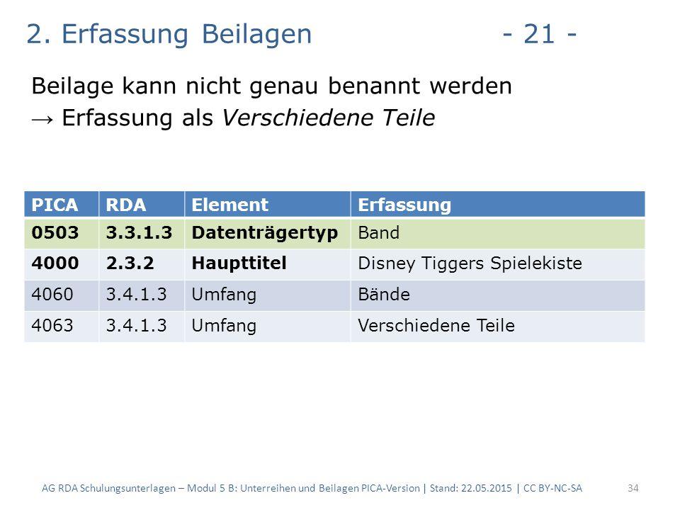 2. Erfassung Beilagen- 21 - Beilage kann nicht genau benannt werden → Erfassung als Verschiedene Teile AG RDA Schulungsunterlagen – Modul 5 B: Unterre